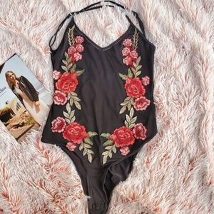 Strappy Halter Neck Embroidered Mesh Bodysuit Sz M